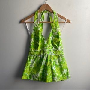 Lilly Pulitzer lime green Willa floral halter top